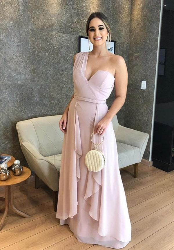 vestido longo rosa para madrinha de casamento durante o dia