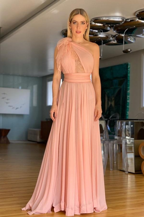 vestido de festa de um ombro só rose para madrinha de casamento