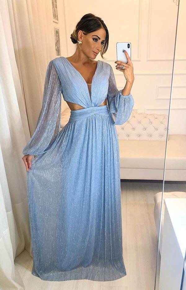 Vestido longo azul serenity de lurex