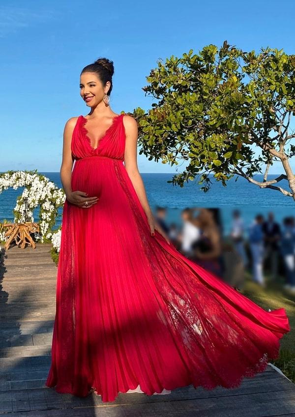 Vestido de festa longo vermelho para gestante