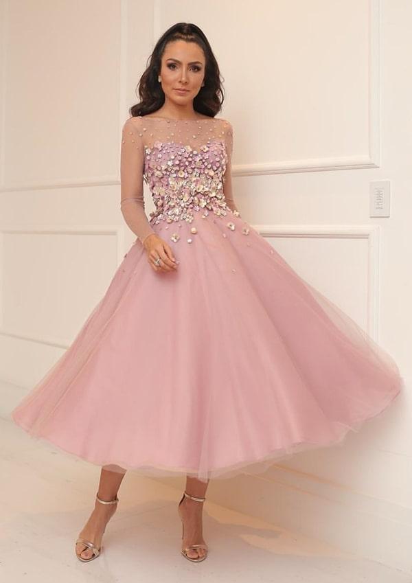 vestido de festa midi rose