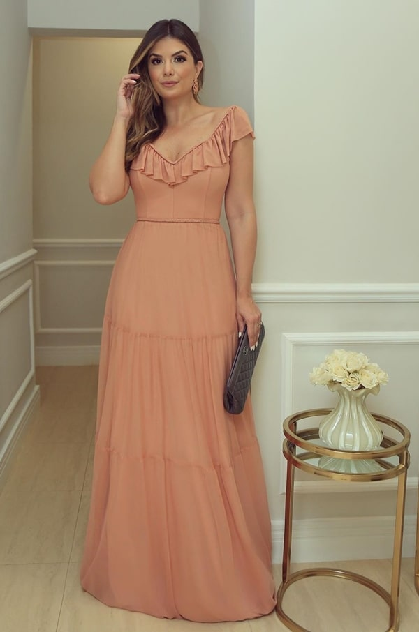 vestido longo nude