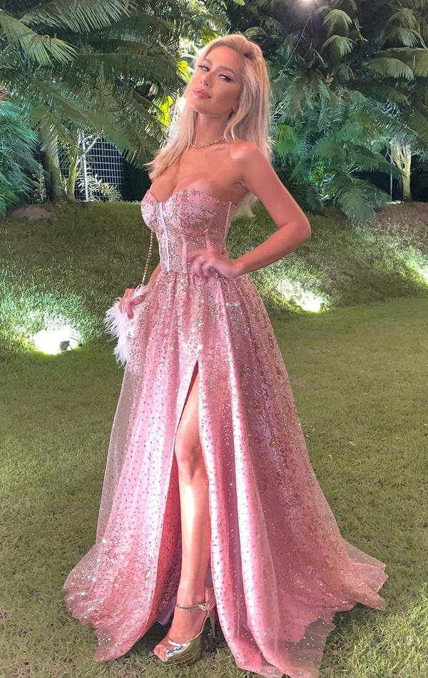 vestido rosa para madrinha de casamento à noite,