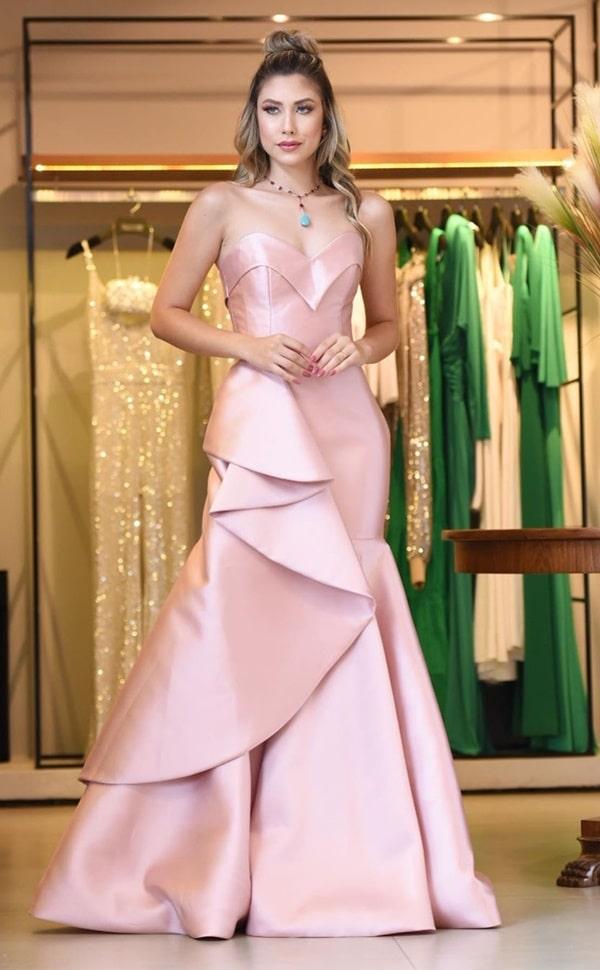 Vestido de festa longo rose de zibeline para madrinha de casamento