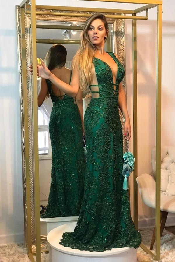 vestido de festa longo verde justo para formatura