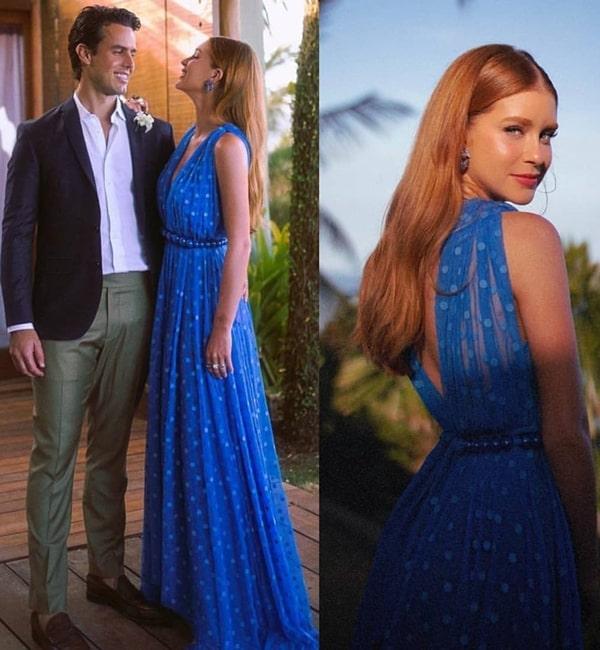 Marina Ruy Barbosa vestido de festa azul com estampa de poás, tendência da moda festa em 2020