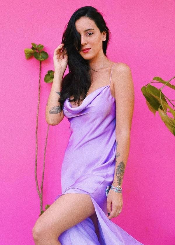 Vestido Slip Dresss de cetim Lilás