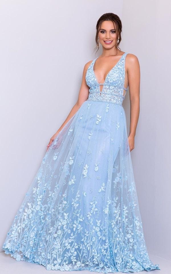 vestido azul serenity para madrinha de casamento à noite na igreja