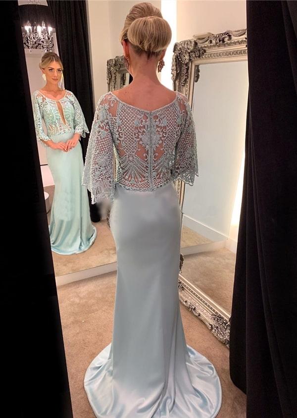 vestido azul serenity para mãe da noiva