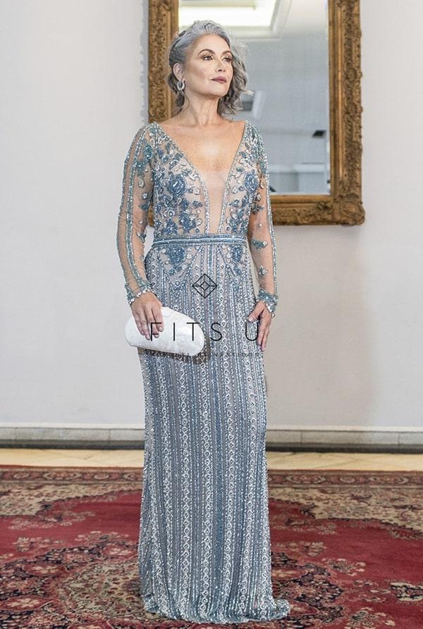 vestido de festa bordado com manga longa para mãe da noiva 2020