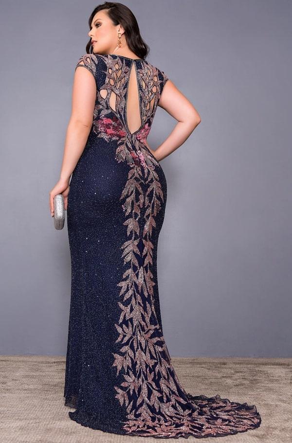 vestido de festa azul marinho plus size bordado