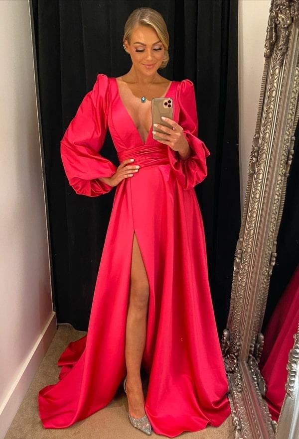 vestido de festa pink com mangas bufantes e fenda