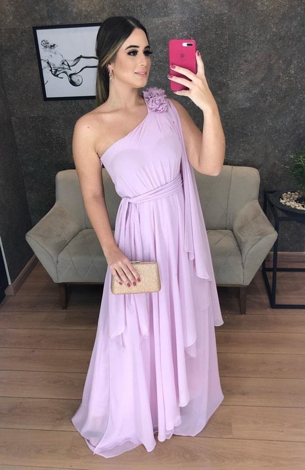 vestido de um ombro só para madrinha de casamento