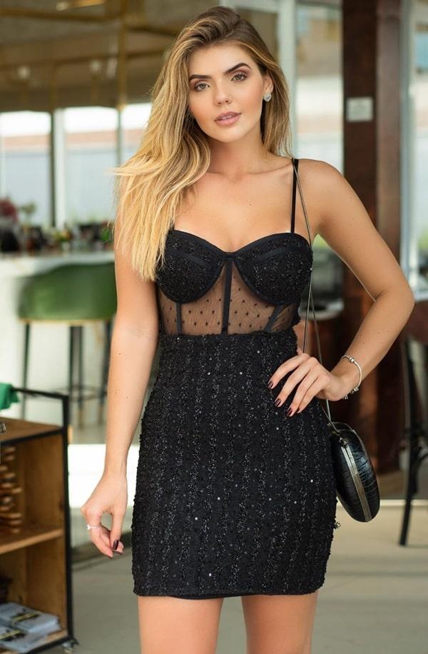 vestido de festa curto preto