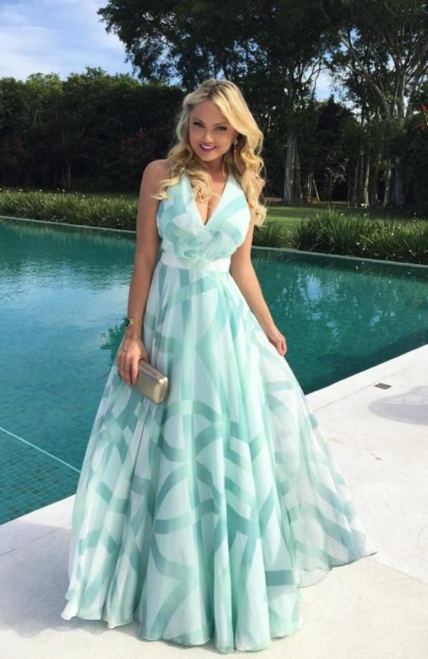 vestido de festa longo verde água estampado para madrinha de casamento