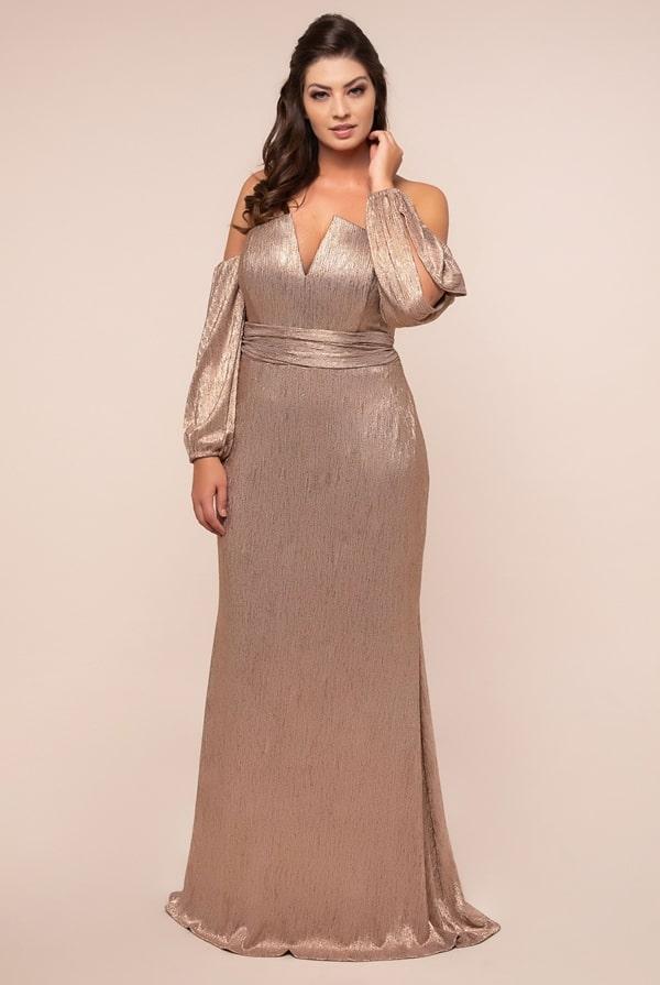 vestido de festa  dourado plus size para madrinha de casamento a noite