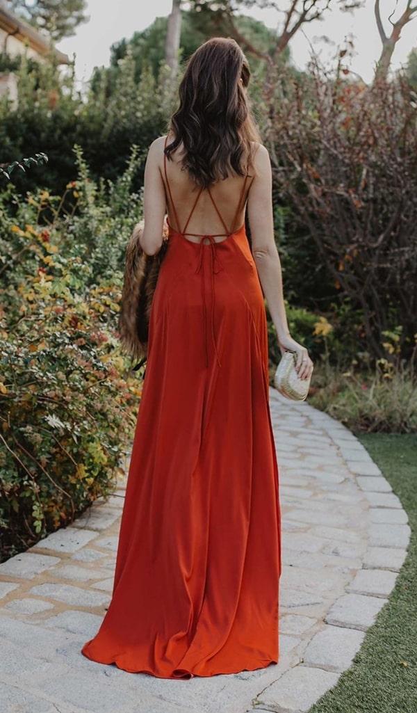 vestido longo em tons terrosos para casamento bpho chic