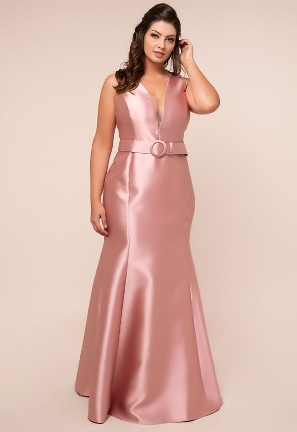 vestido de festa rosa plus size para madrinha de casamento a noite