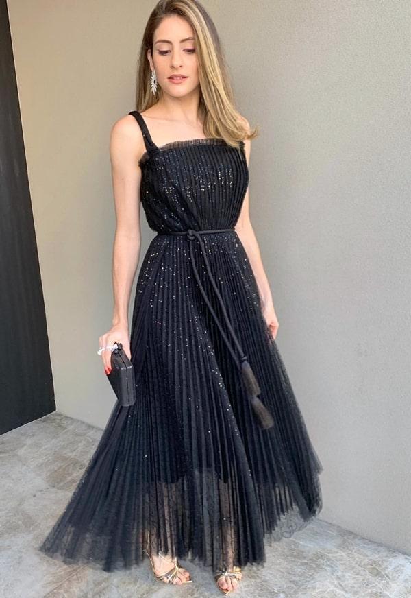 vestido de festa midi preto