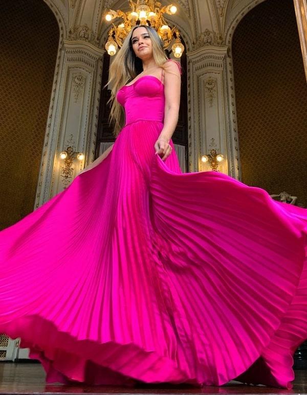vestido de festa longo pink plissado