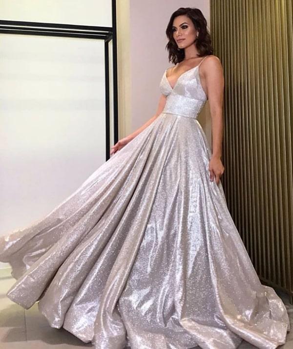 vestido de festa prata para formatura