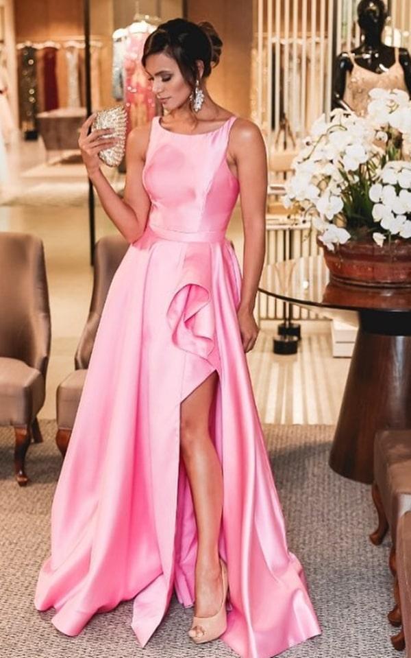 vestido de festa longo rosa com fenda