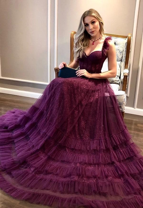 vestido de festa longo vinho bordô