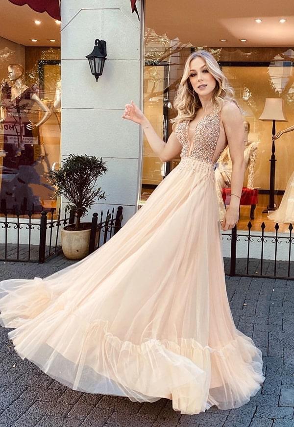 vestido dourado claro para madrinha de casamento