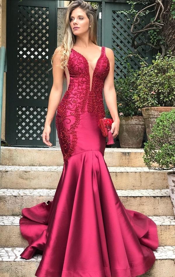 vestido de festa marsala modelo sereia para formatura