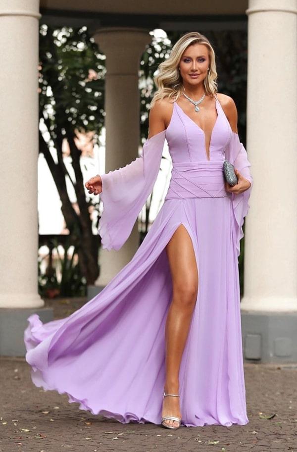 vestido longo lavanda para casamento na praia