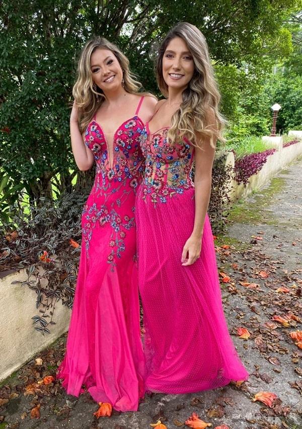 vestido de festa longo pink bordado para madrinha de casamento