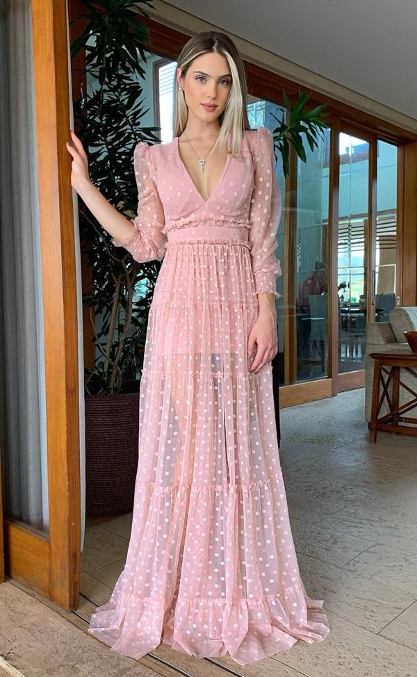 vestido de festa rosa de poás bolinhas