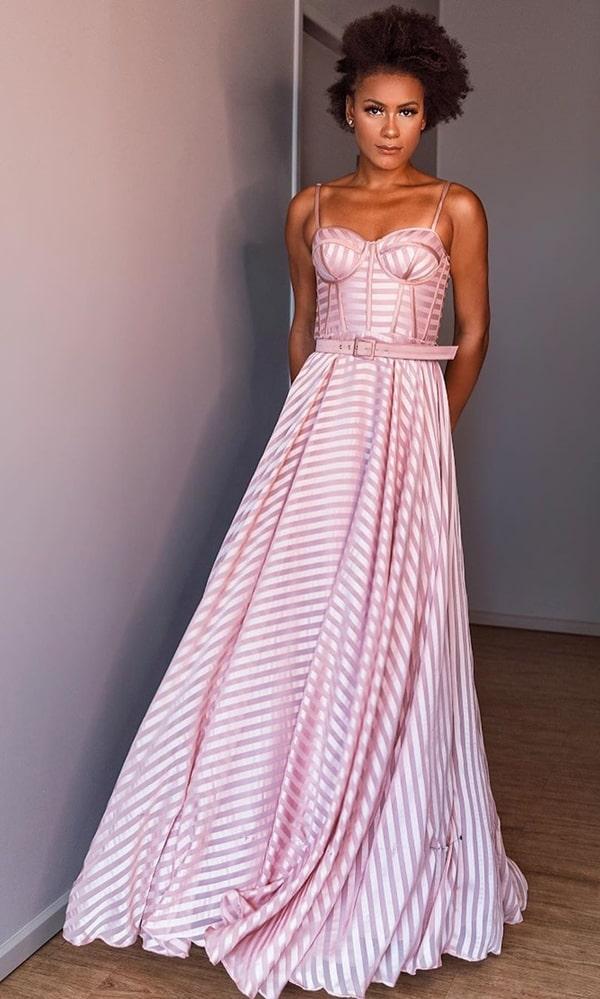 vestido de festa longo rose listrado