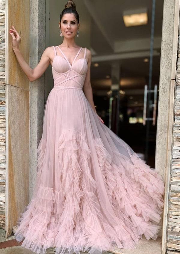 vestido de festa longo rosa chá para madrinha de casamento