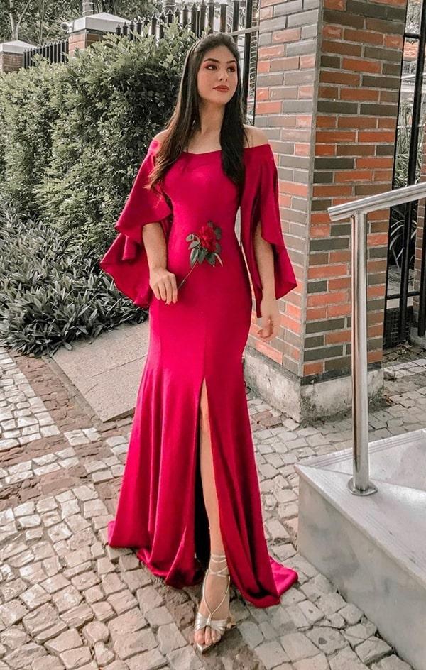 vestido longo vermelho para casamento