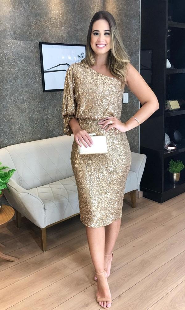 vestido de festa midi dourado bordado em paetês
