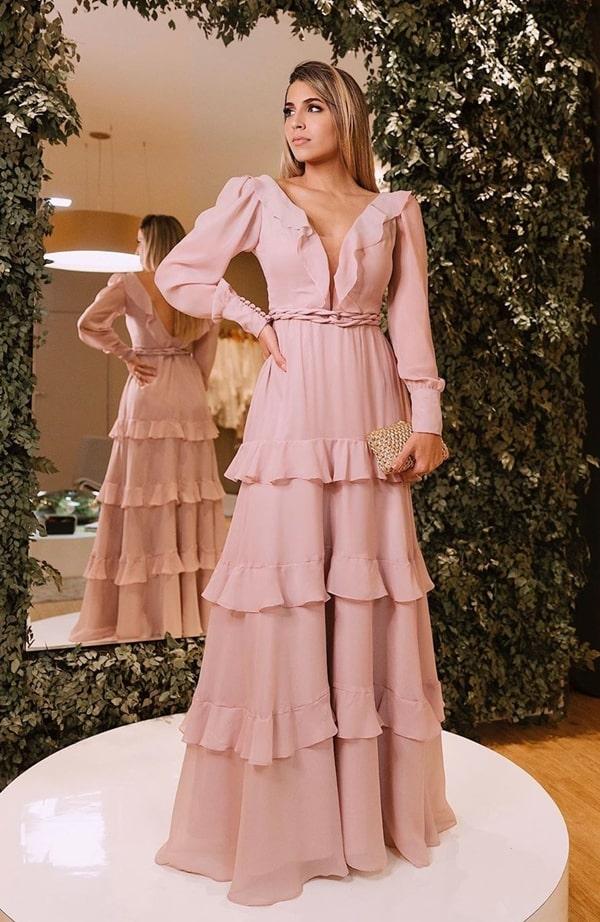 vestido de festa longo rose com manga bufante e babados