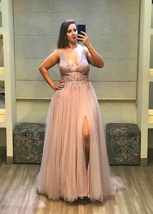 vestido de festa rose  plus size para madrinha de casamento a noite
