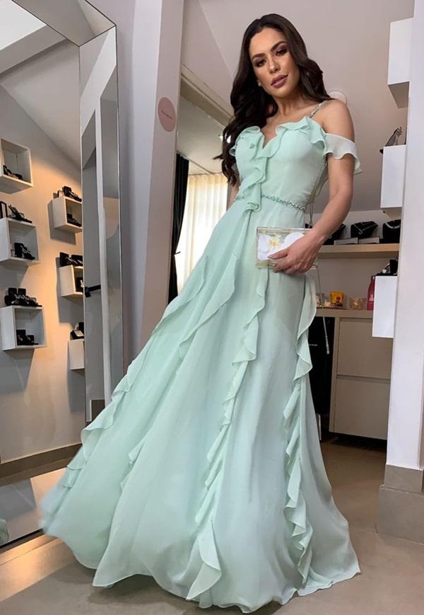 Vestido de festa longo verde claro para madrinha de casamento