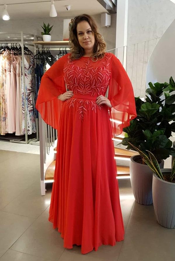 vestido vermelho para mãe da noiva