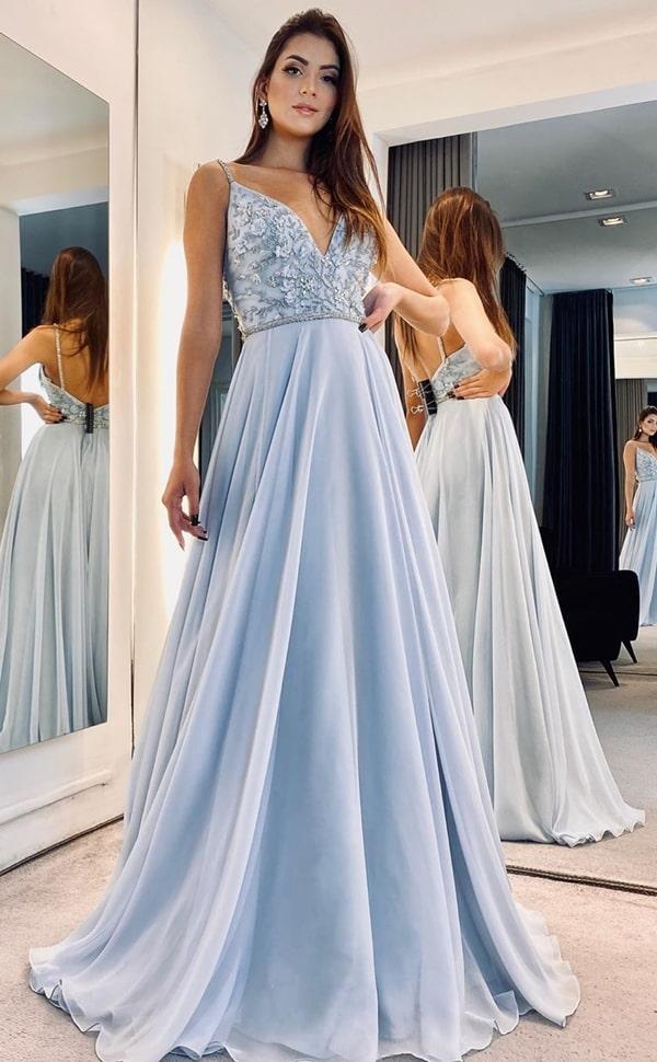 vestido longo azul serenity com saia fluida