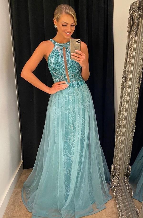 vestido longo azul para madrinha de casamento a noite