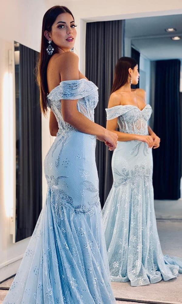 vestido de festa longo azul serenity de renda modelo semi sereia