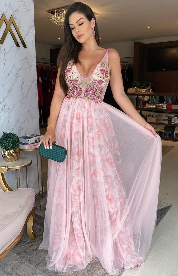vestido longo rose estampado para madrinha de casamento