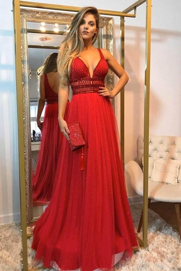 vestido vermelho para madrinha de casamento à noite