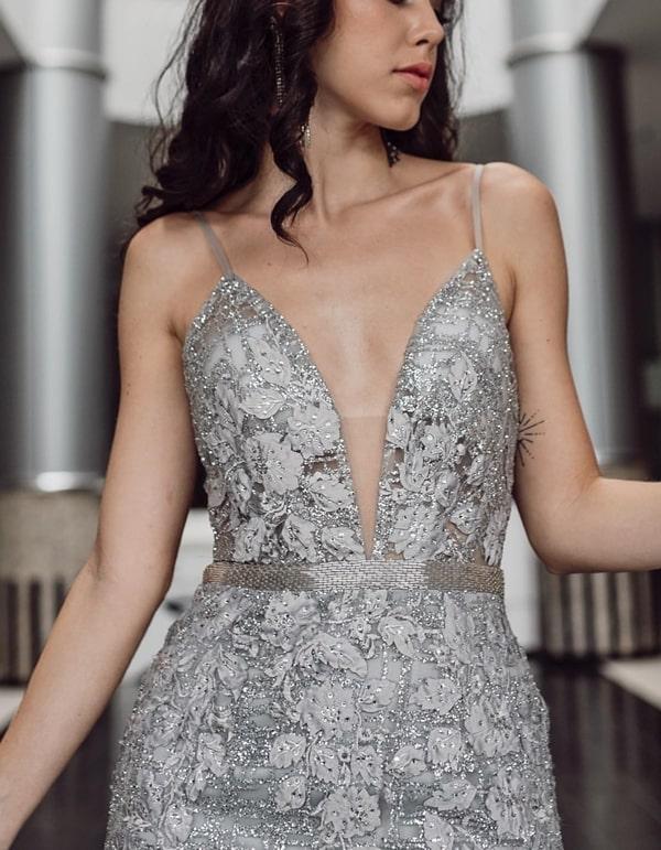 vestido de festa longo prata para formatura