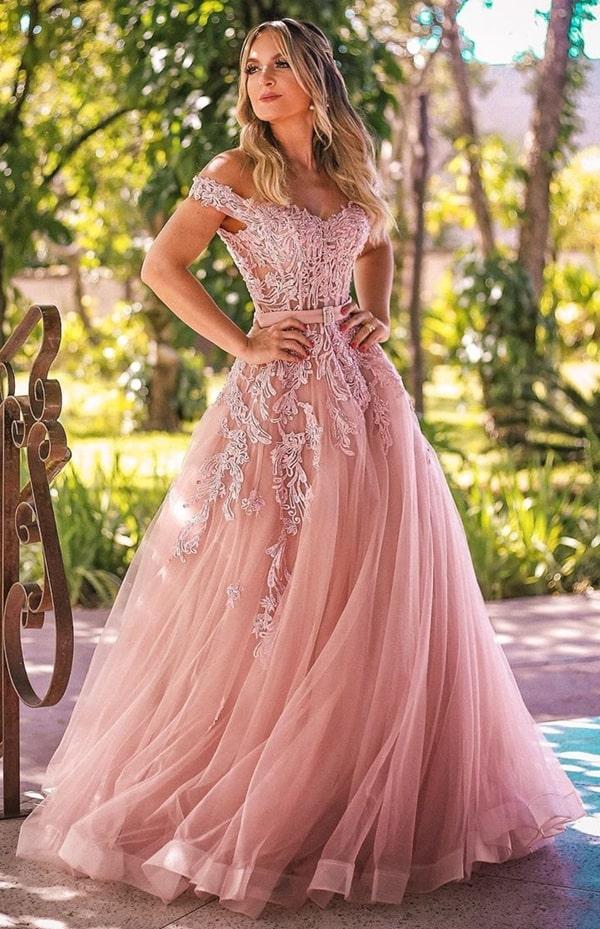 vestido de festa longo rosa para madrinha de casamento