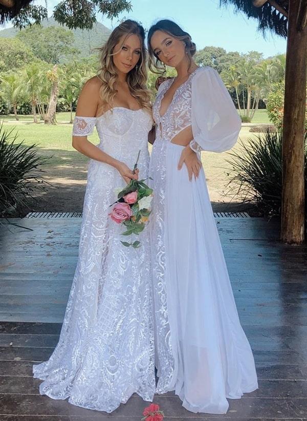 vestido de noiva simples para casamento durante o dia