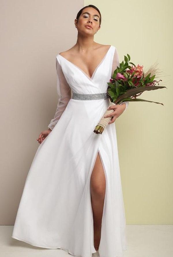 vestido de noiva simples para casamento à noite