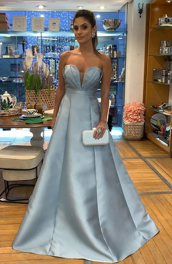 vestido de festa longo azul claro para madrinha de casamento